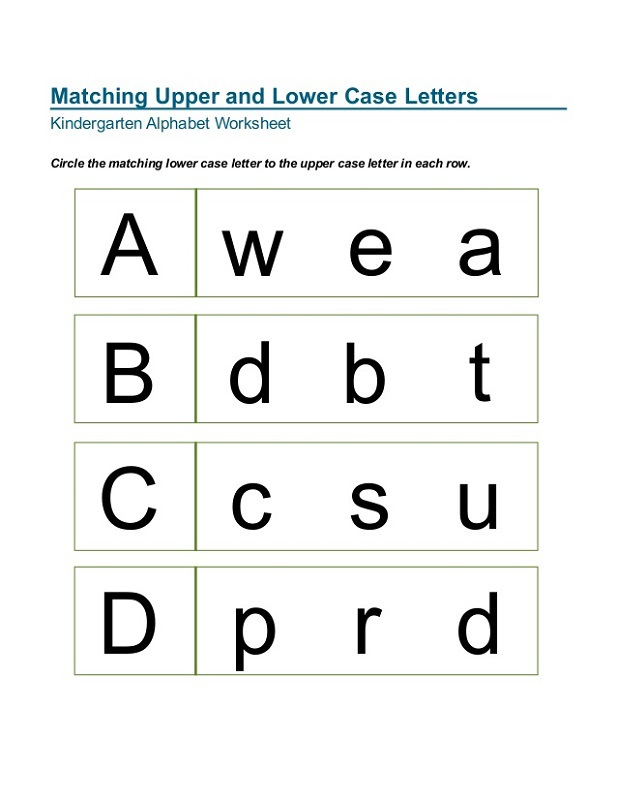 Lower Case Alphabet Worksheets – Matching Upper and Lowercase Letters Worksheets