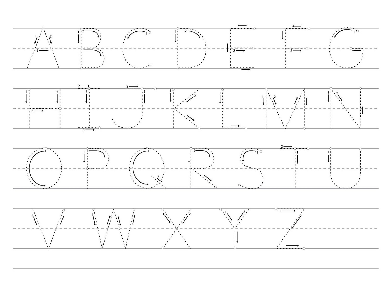 traceable alphabet worksheets simple