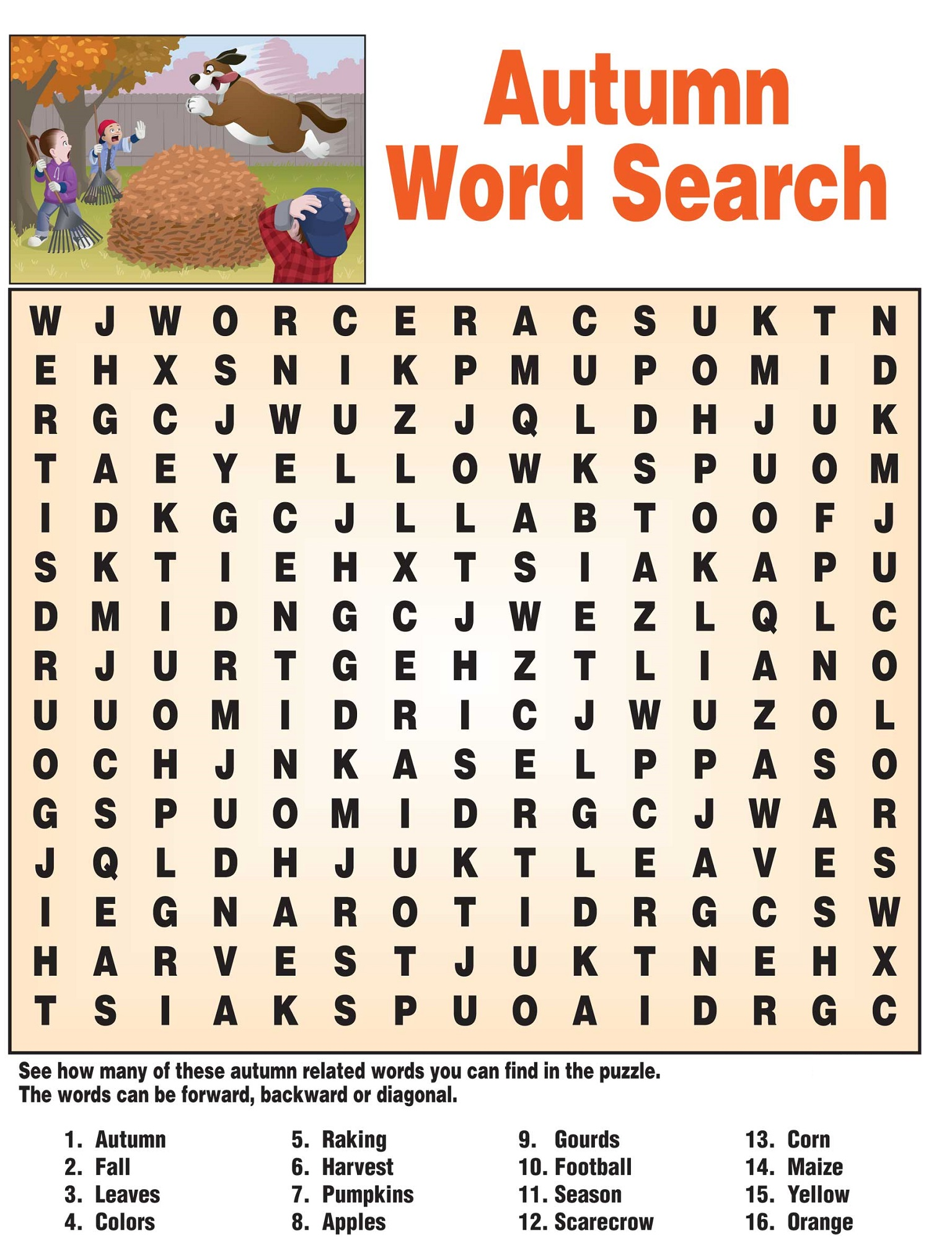 word search puzzles for kids autumn