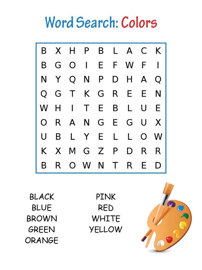 word search puzzles for kids colors