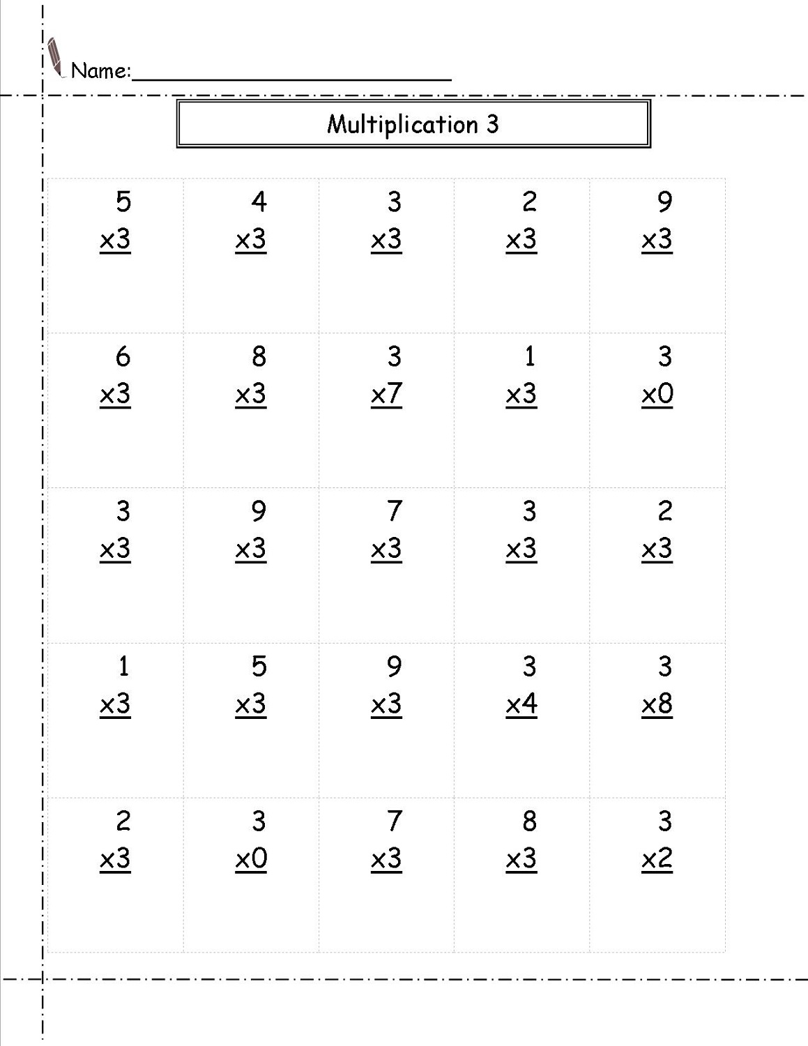 3 times table worksheet practice