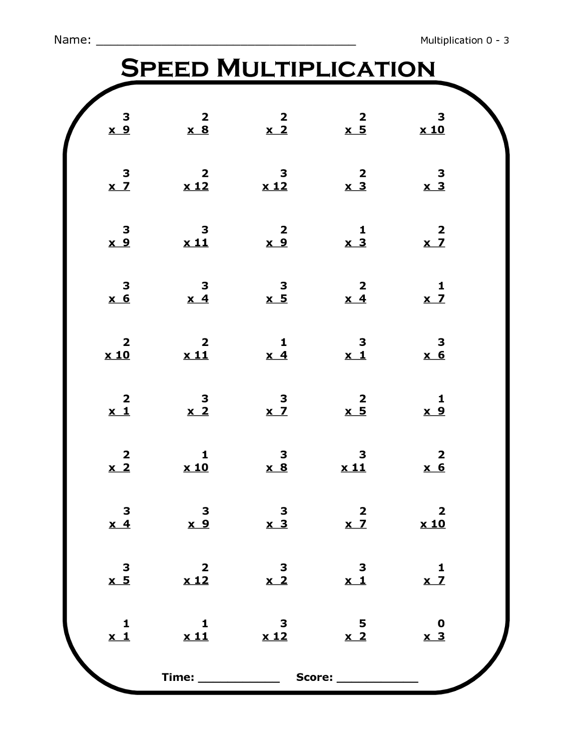 3 times table worksheet printable