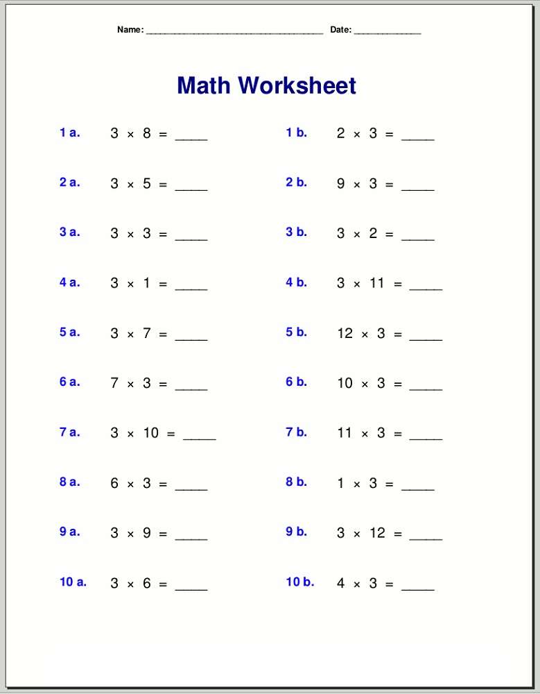 3 times table worksheets printable