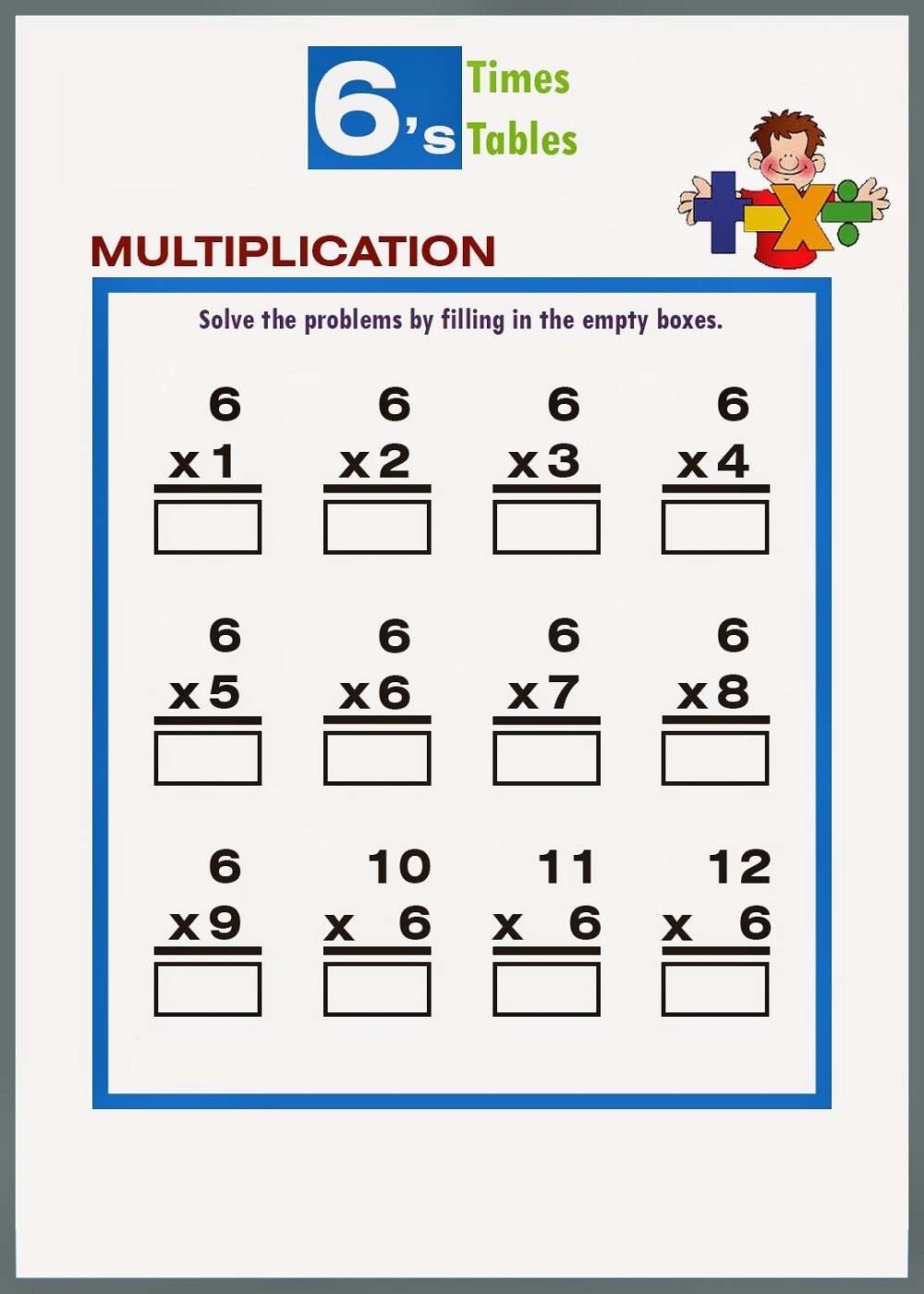 6 times tables worksheets printable