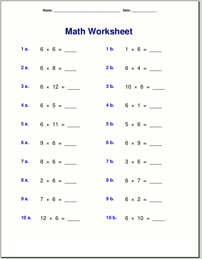 6 times tables worksheets to print