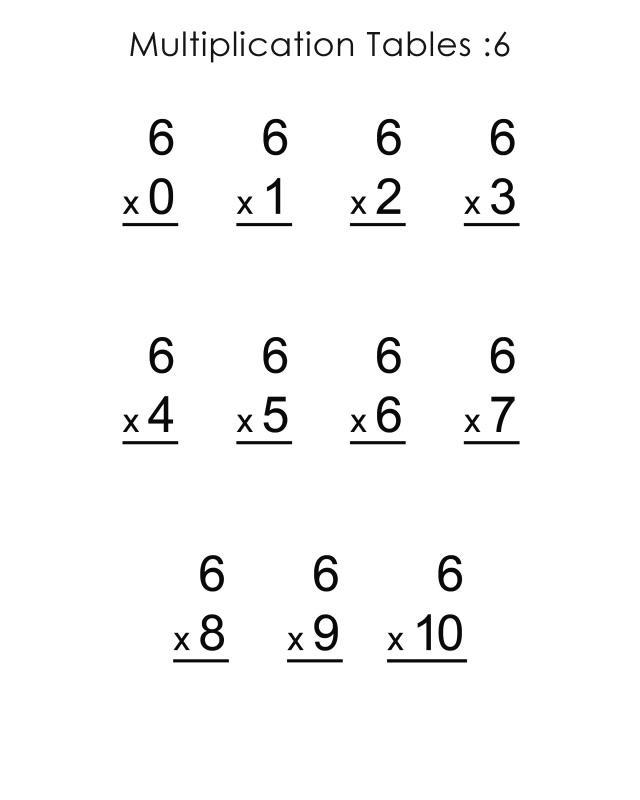 6 times tables worksheets vertical