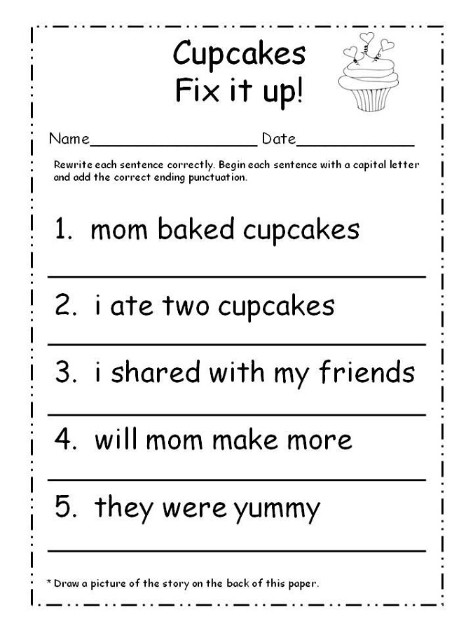 capital letters worksheets cupcake