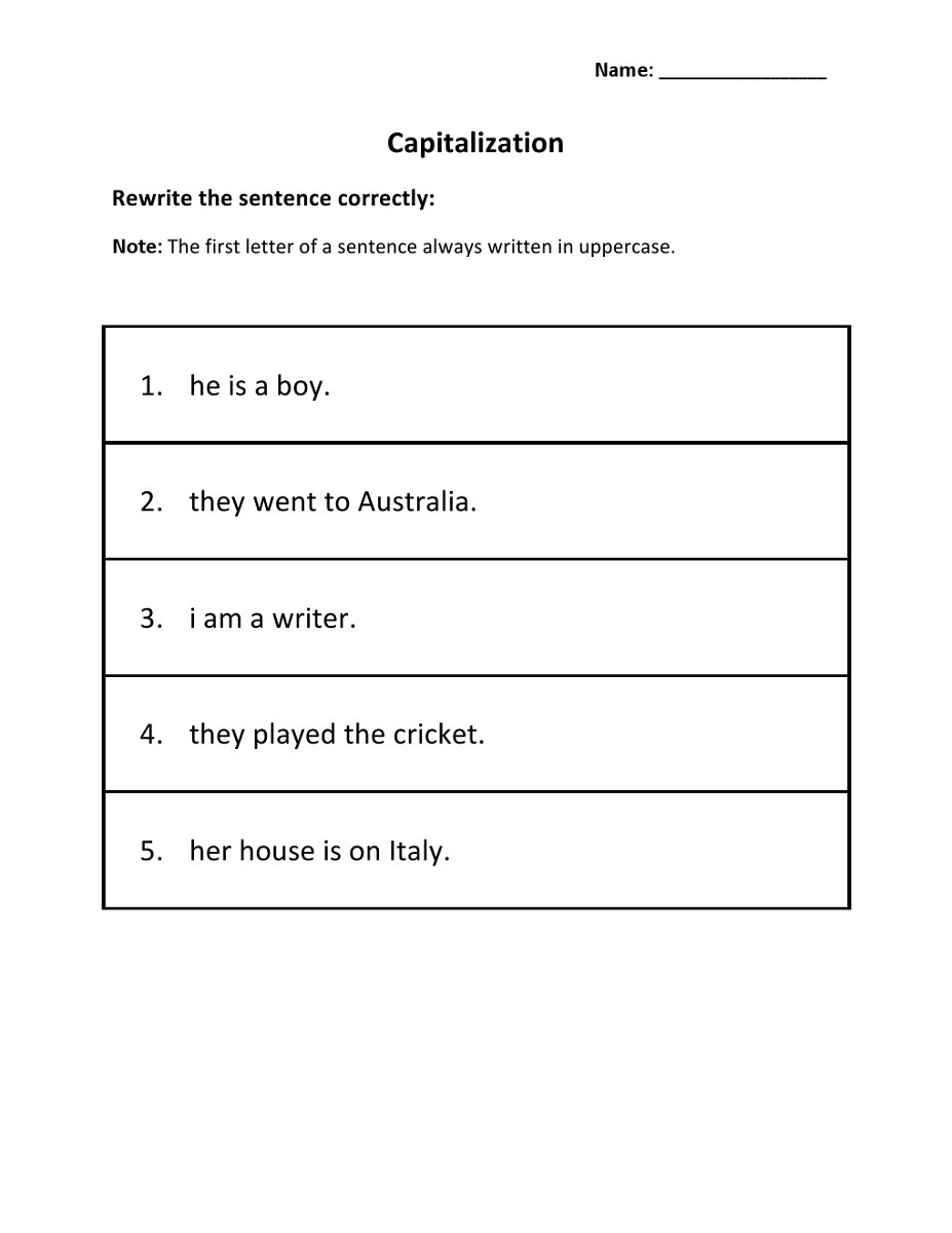 capital letters worksheets sentence