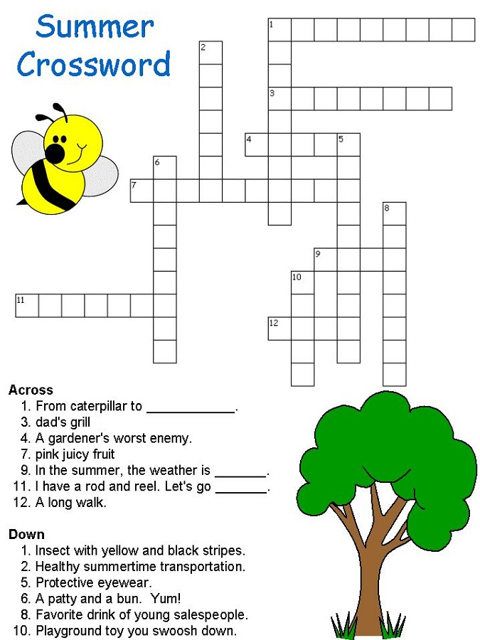 crossword puzzles for children summer