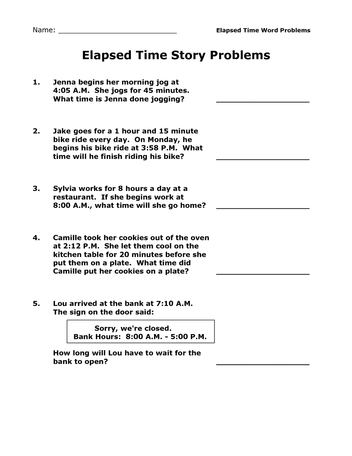 Printable Elapsed Time Worksheets Free