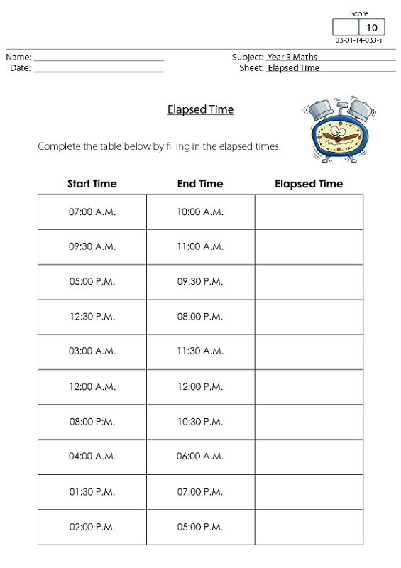 elapsed time worksheets free kids
