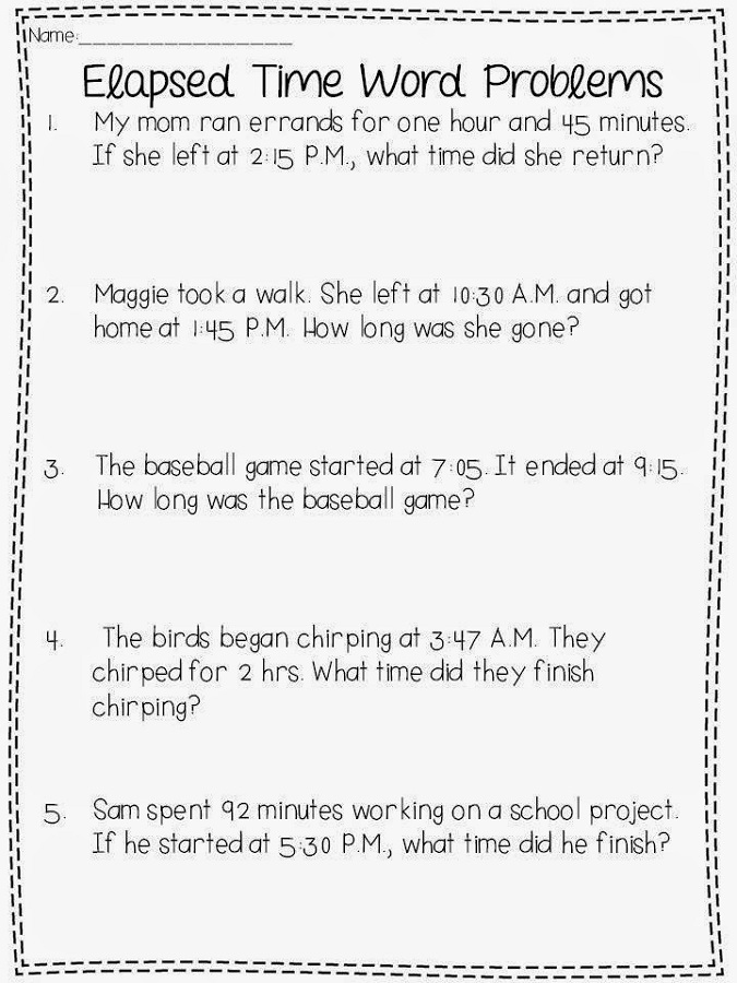 elapsed time worksheets free simple