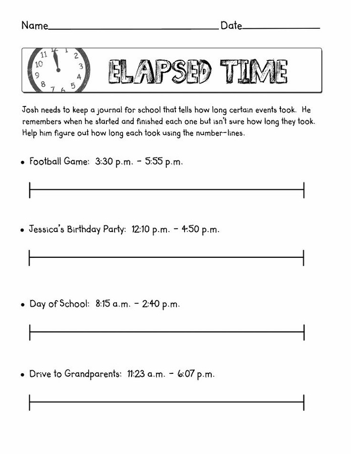 elapsed time worksheets free story