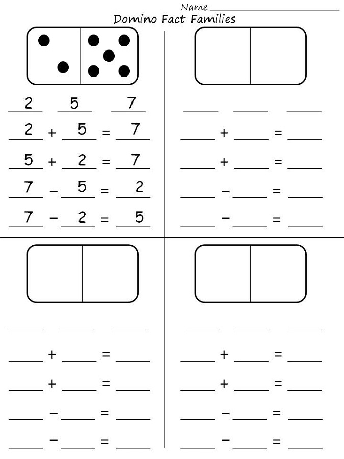 fact family worksheet for kids