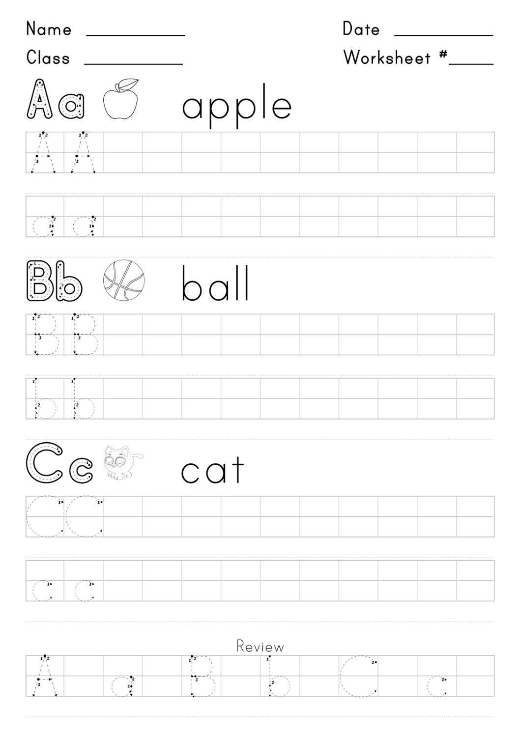 free handwriting worksheets for kids easy