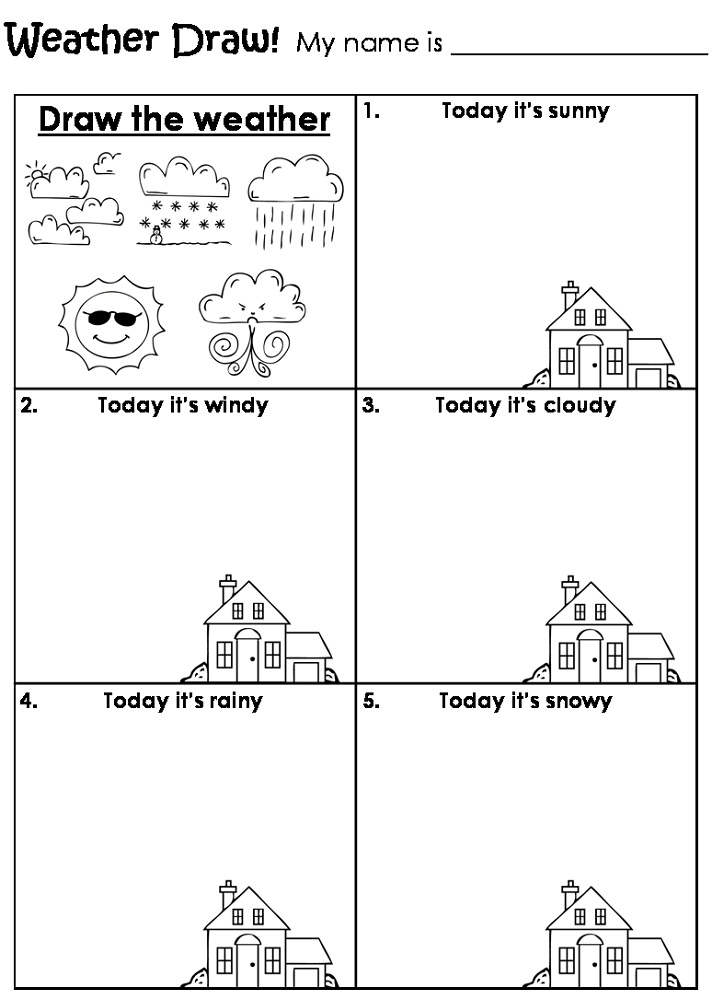 kids activity sheets weather - Drawing Activity Sheets