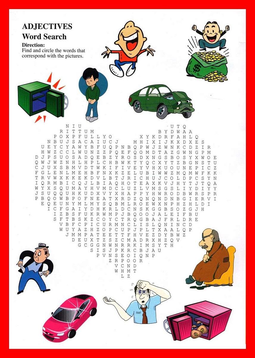 kids word puzzles adjective