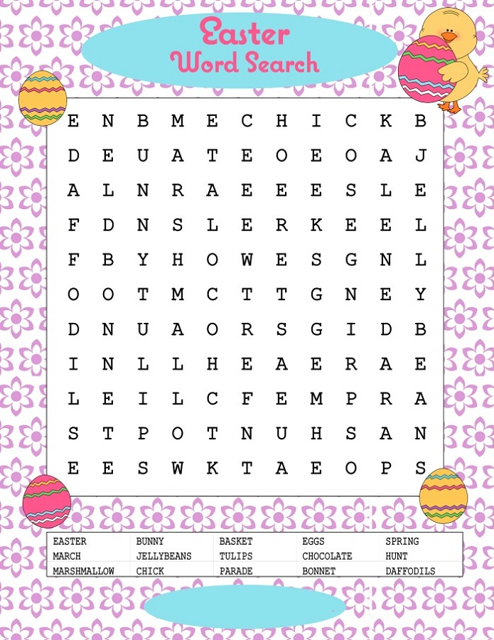 kids word puzzles easter
