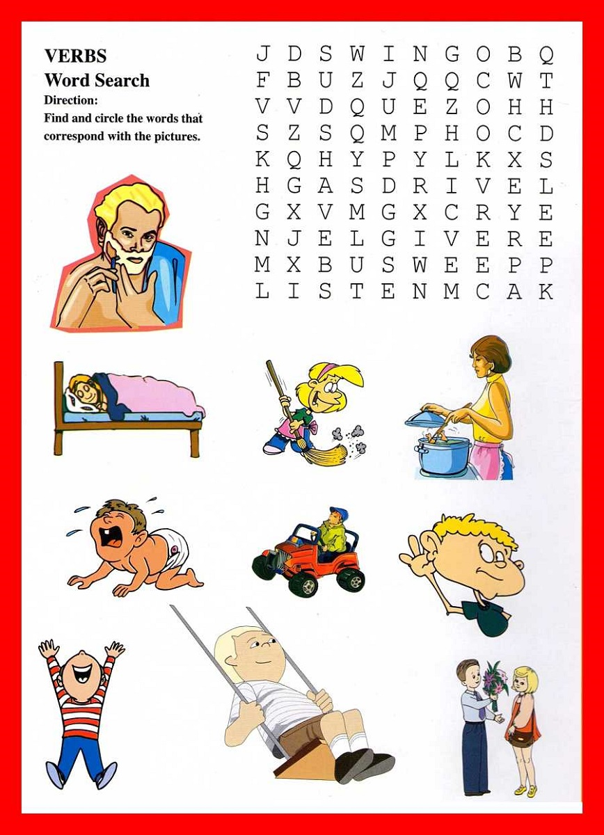 kids word search verb