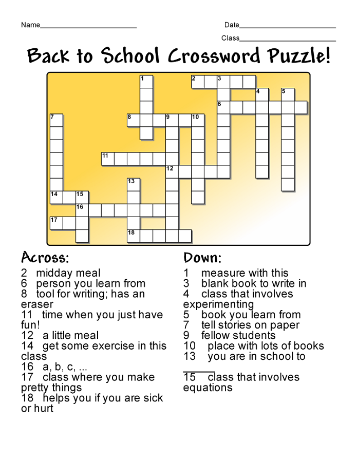 super easy crossword puzzles school