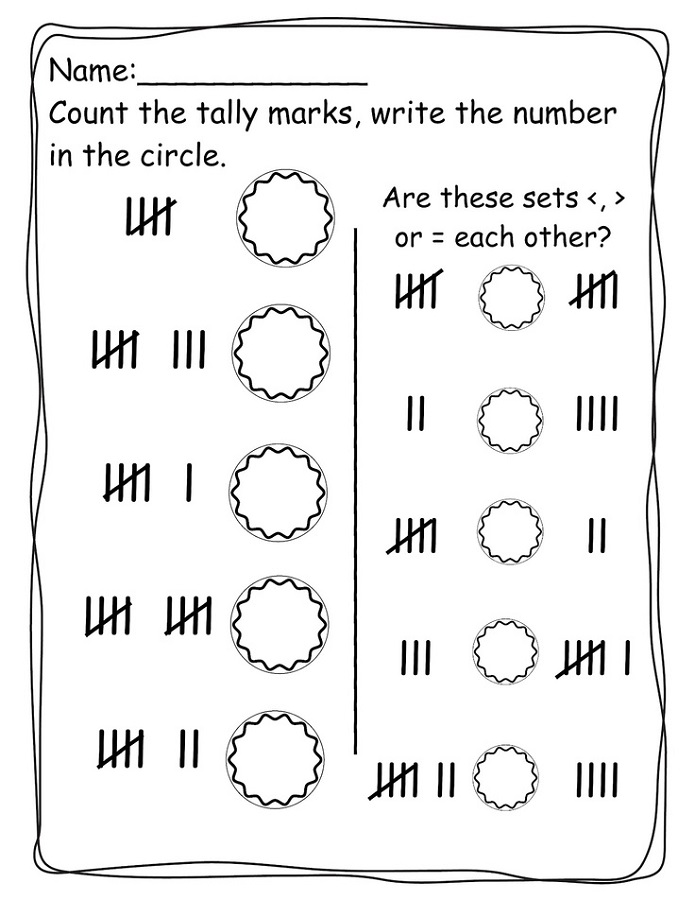 tally marks worksheets pre k