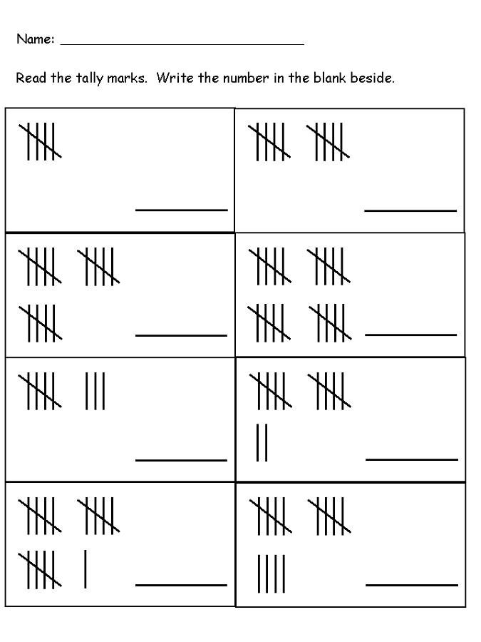 tally marks worksheets printable