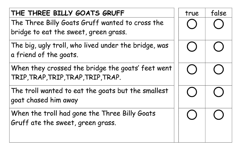 three billy goats gruff worksheets true