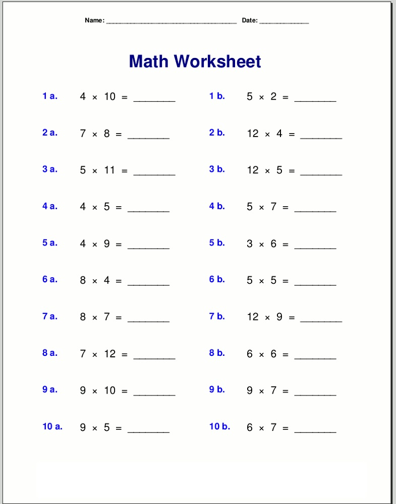 Easy Times Table Practice Sheets : Activity Shelter