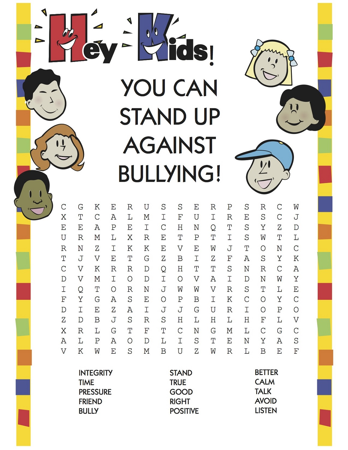 word search puzzle for kids bully