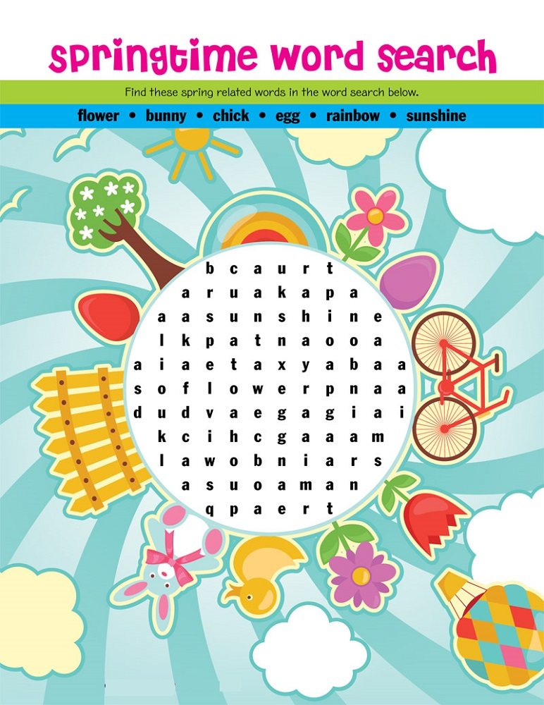 word search puzzle for kids spring