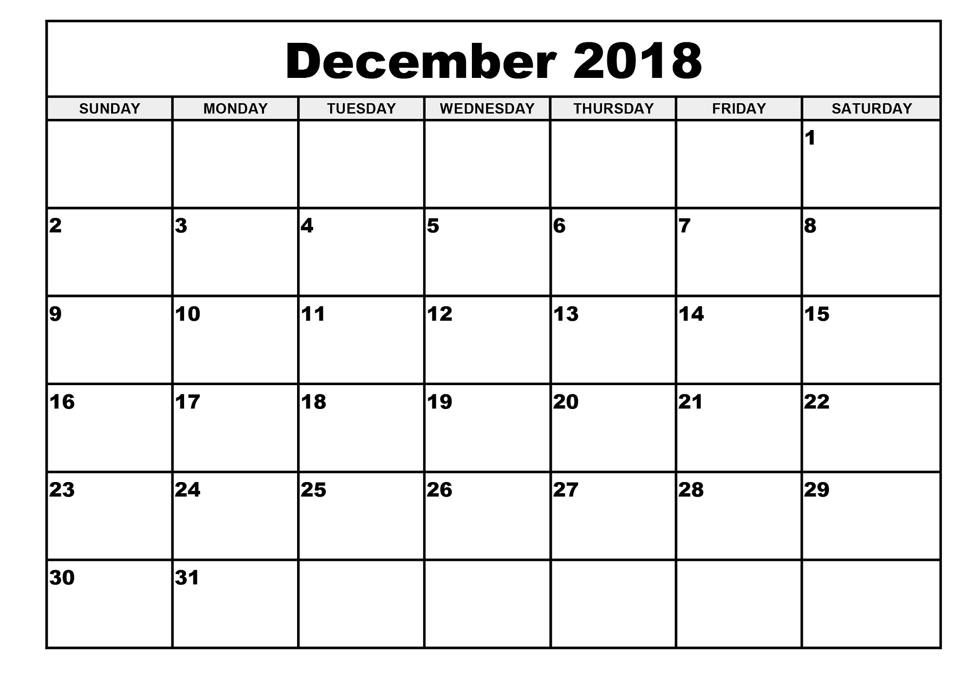 2018 monthly calendar printable december