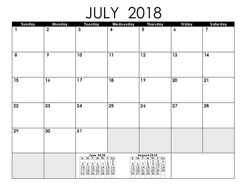 2018 monthly calendar printable july