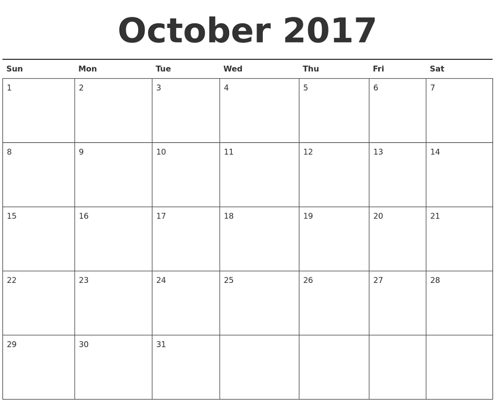2018 monthly calendar printable october
