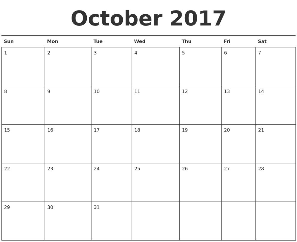2018 monthly calendar printable october