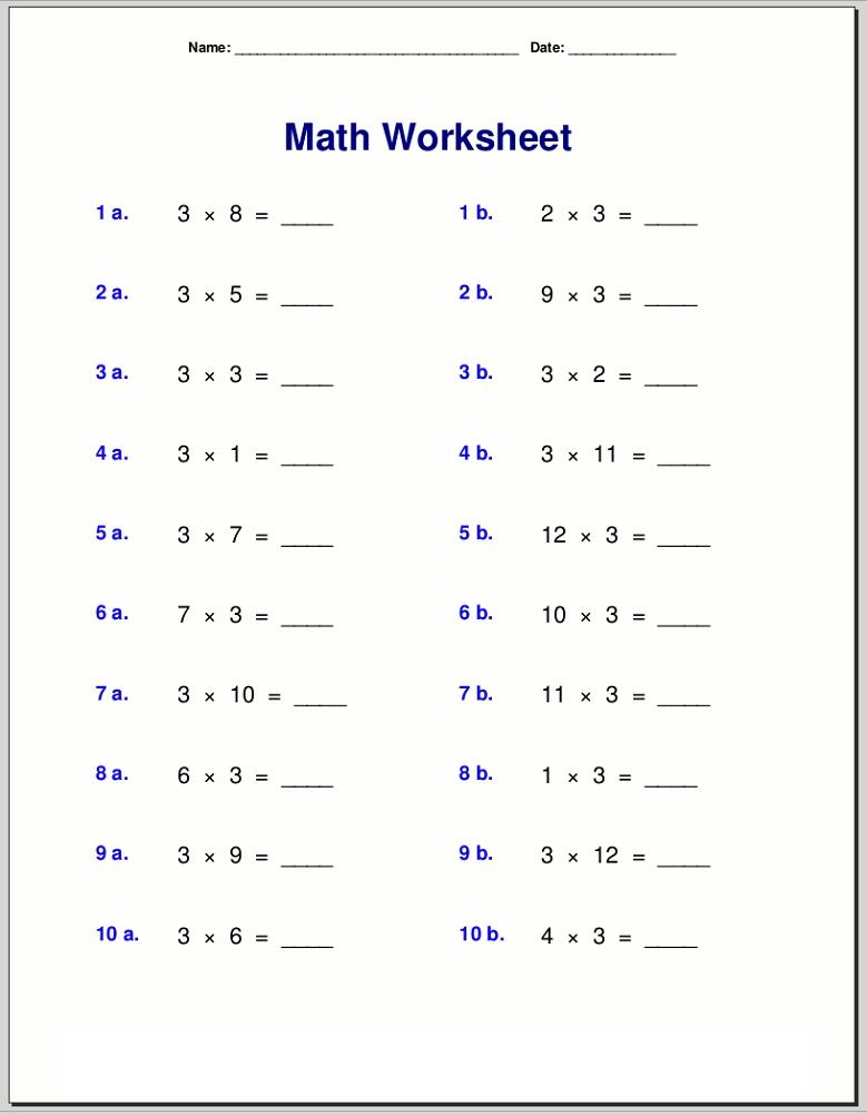 3 times tables worksheet multiplication