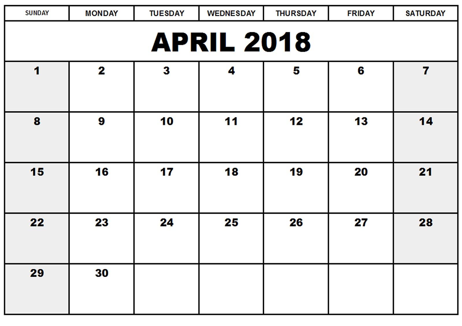 blank printable calendar 2018 april