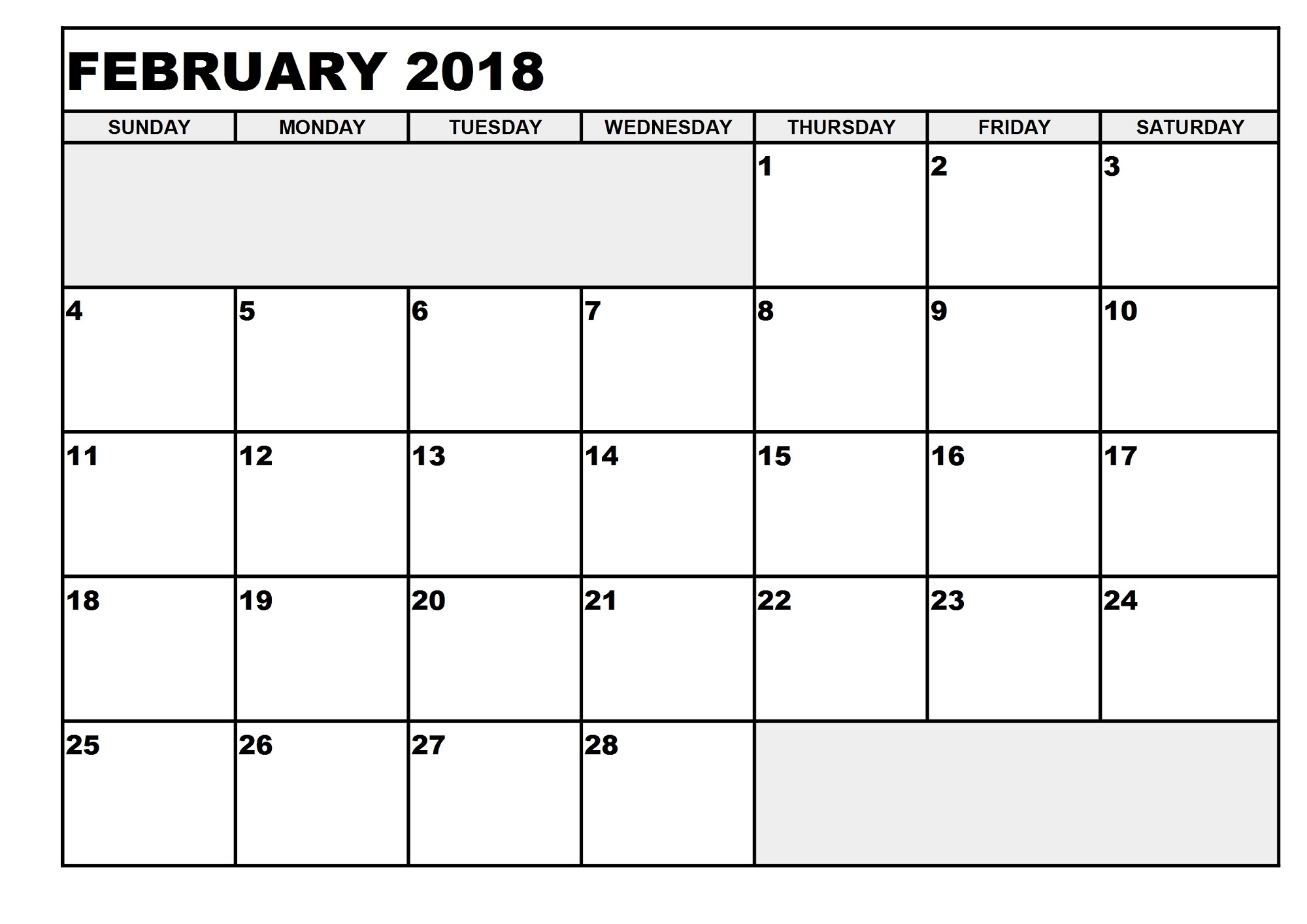 blank printable calendar 2018 february