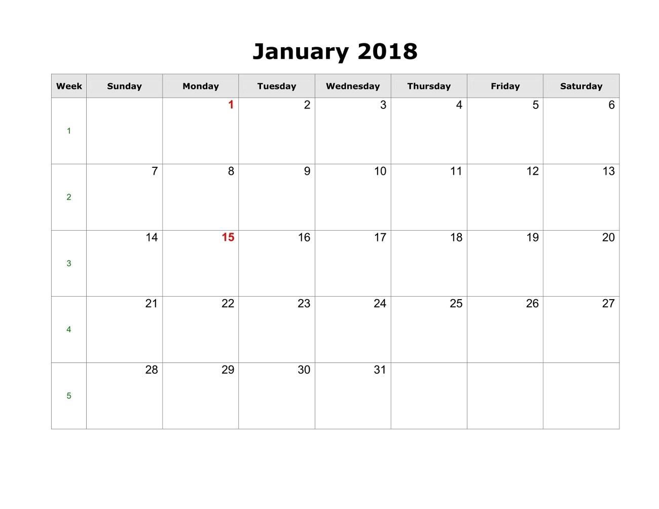 blank printable calendar 2018 january