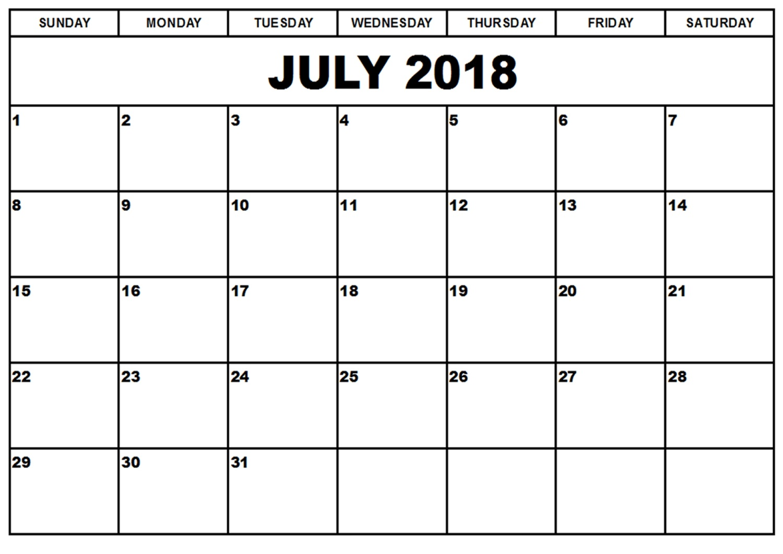 blank printable calendar 2018 july