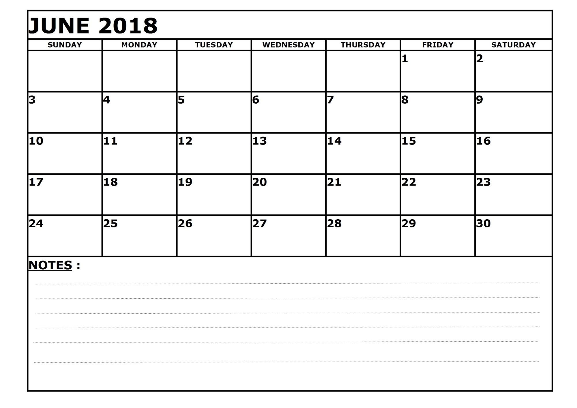 blank printable calendar 2018 june