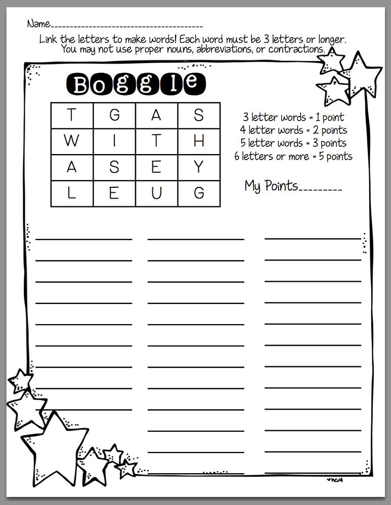 boggle word games printable