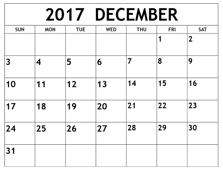 december 2017 calendar blank
