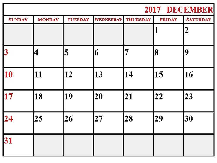 december 2017 calendar free