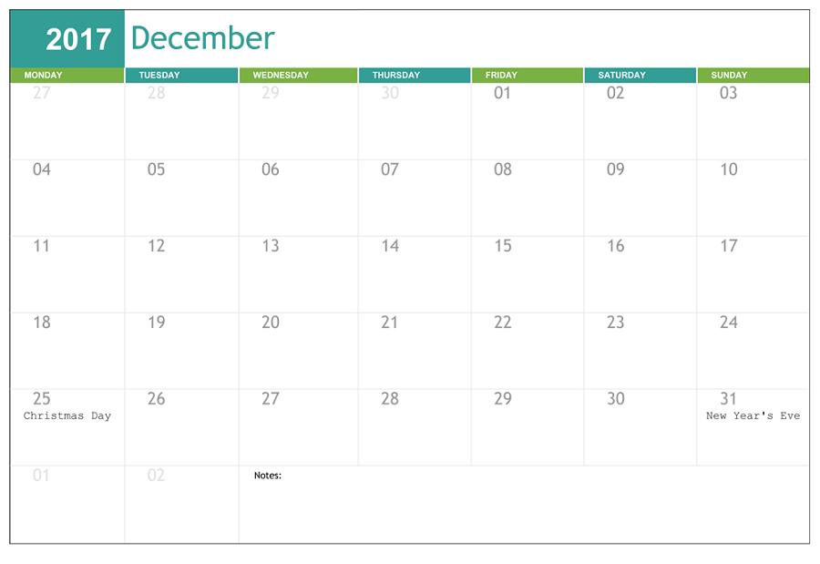 december 2017 calendar holiday