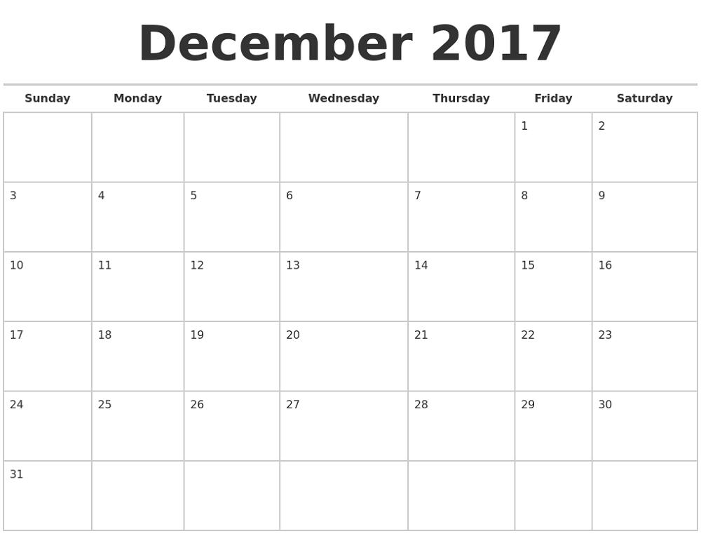 december 2017 calendar large