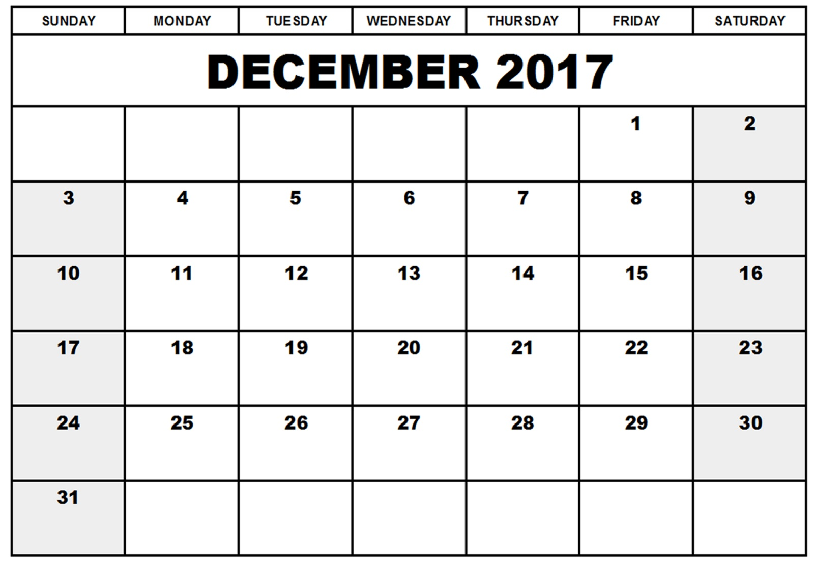 december 2017 calendar pages
