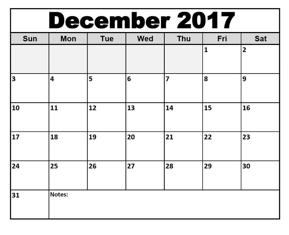 December 2017 Calendars Printable | Activity Shelter