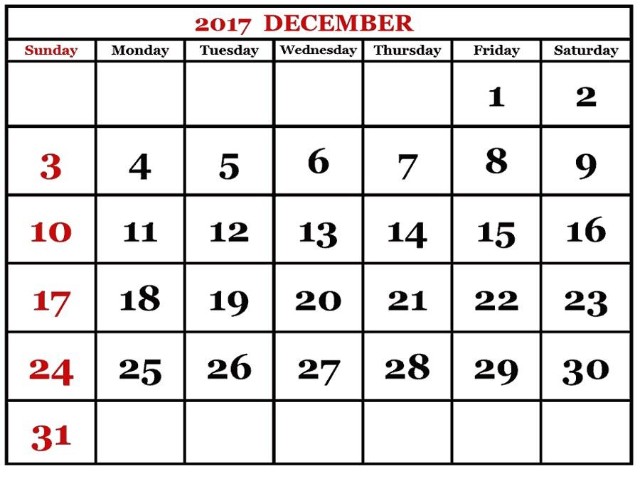 december 2017 calendar to print