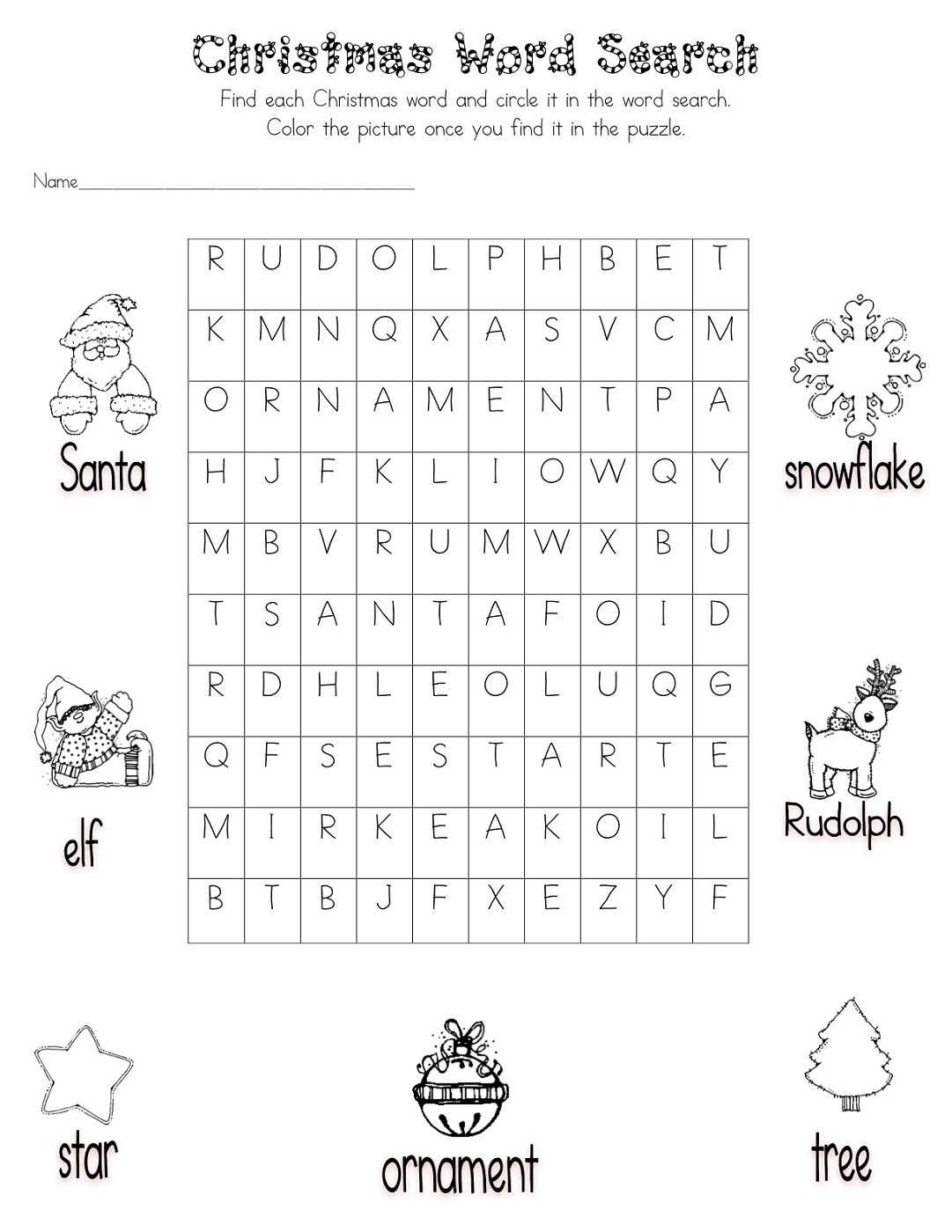 Easy Word Searches For Kids Christmas
