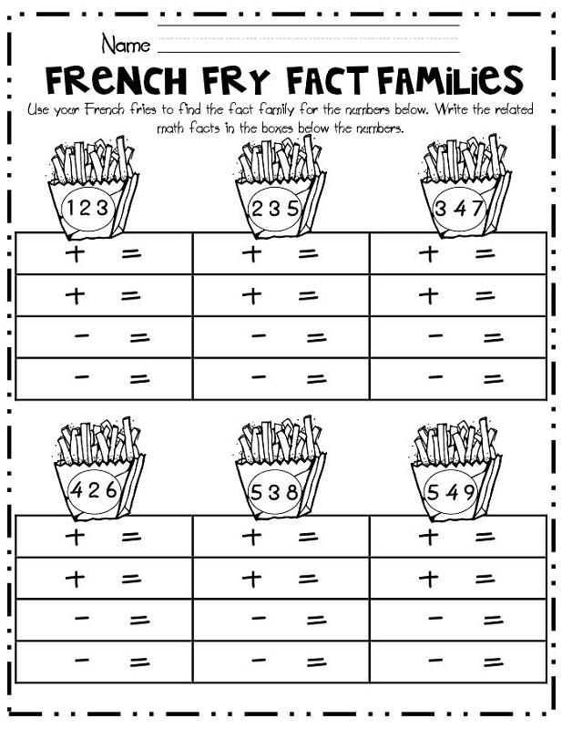 Fact Family Worksheets For First Grade Activity Shelter